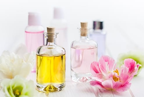Bottles with essential aroma oil
