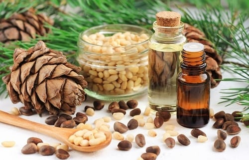 Dropper bottles with aromatic pine nut oil with cedar